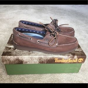 Brown Timberland Leather Boat Shoes